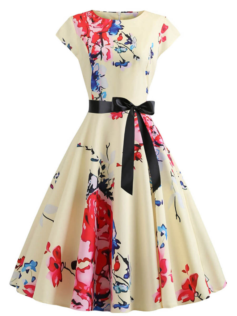 Womens 1950s Vintage O-Neck Princess Cap Sleeve Rockabilly Swing Dress
