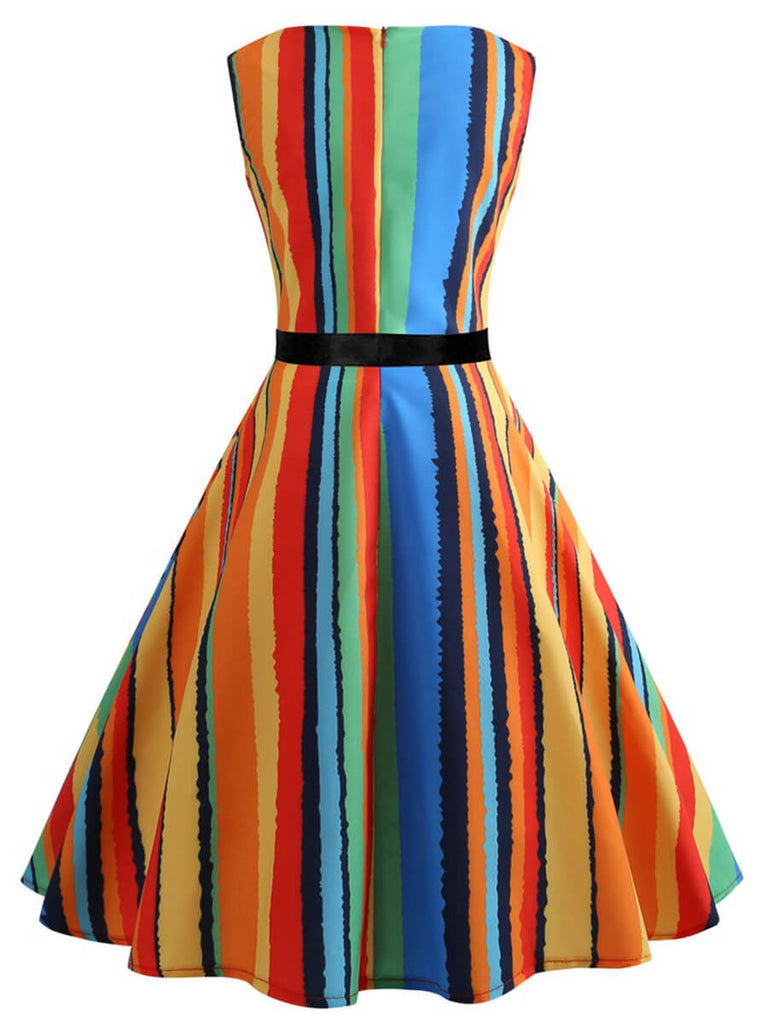 Retro Dress A-Line O-Neck Sleeveless Multicolor Audrey Hepburn Dress