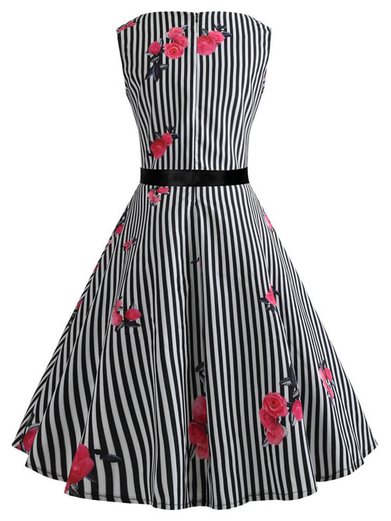 Retro Dress A-Line O-Neck Sleeveless Polyester Audrey Hepburn Dress