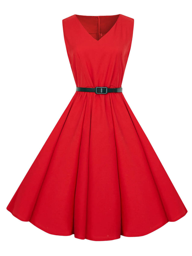 Vintage 1950s Dress A-Line V-Neck Knee-length Dress with Belt