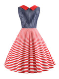 Hepburn Dress Striped American Flag 1950s Dress