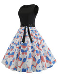 Sleeveless Heart Print Patchwork 1950s Dress