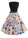 1950s Dress Sleeveless Heart Pattern Dress