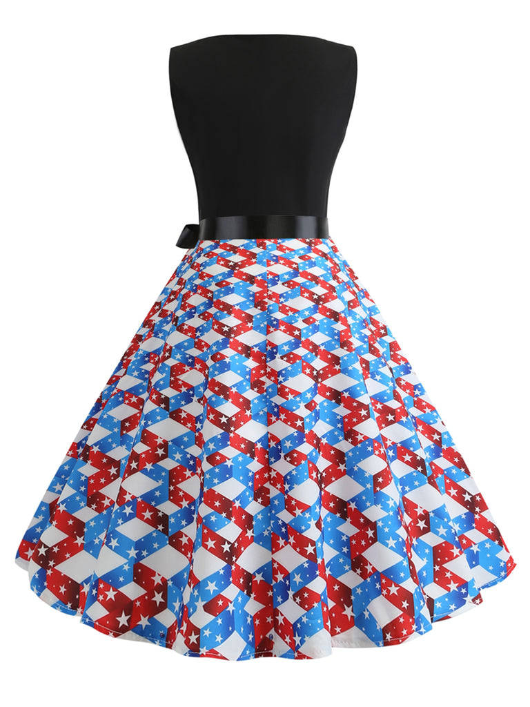 Swing Dress Color Block Print 1950s Dress