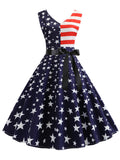 Hepburn Dress V Back American Flag Patchwork 1950s Dress