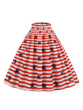 Elastic Waist Striped Stars Skirt