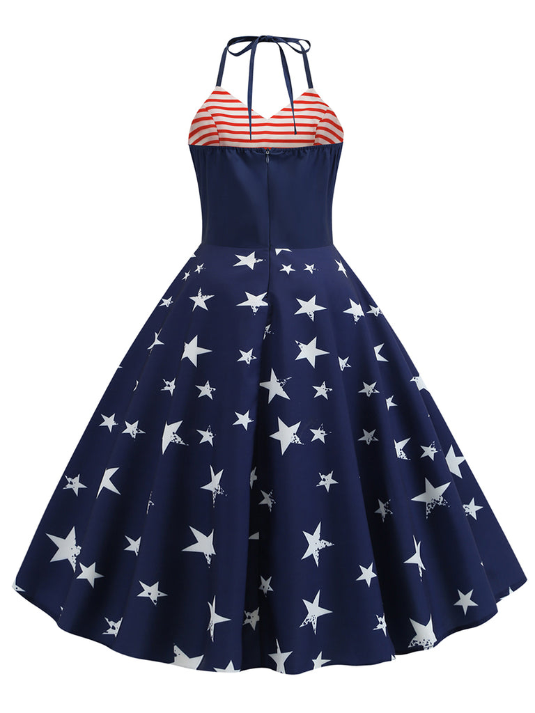 Swing Dress Stars Striped Halter 1950s Dress