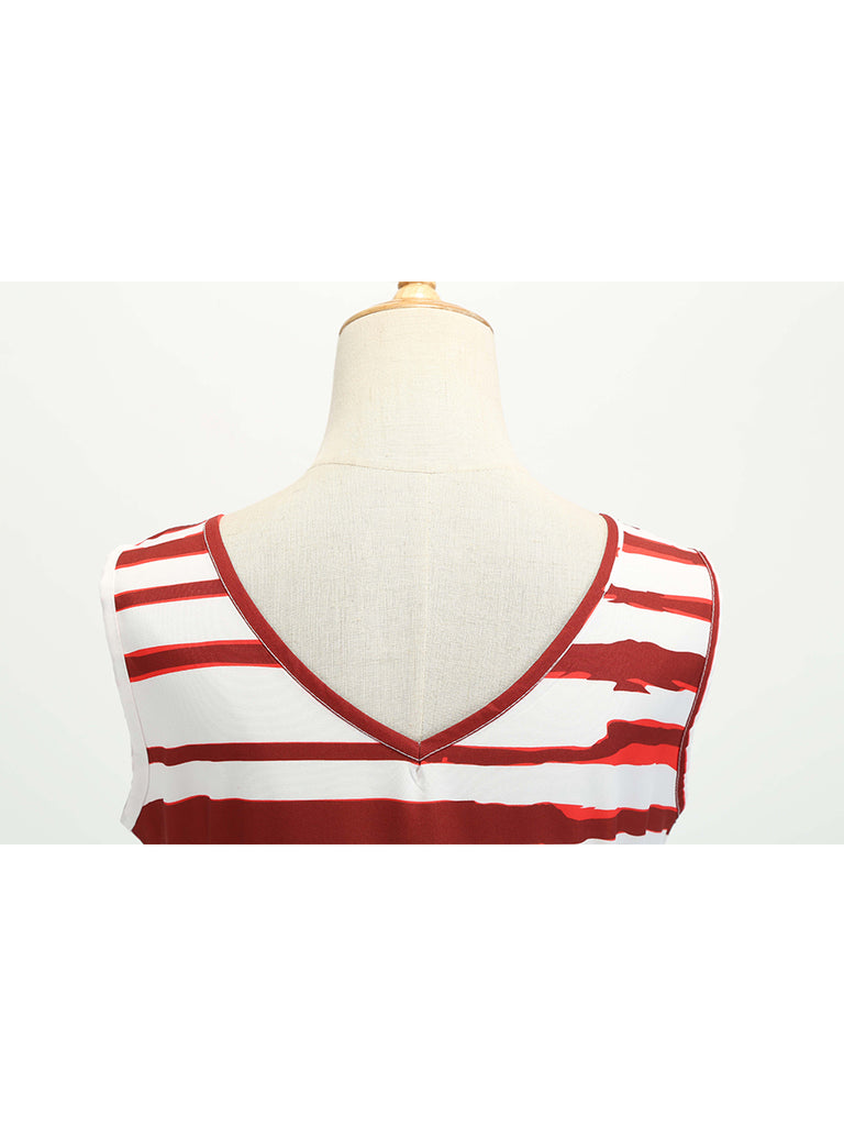 American Flag Dress V Neck Striped Patchwork 1950s Dress