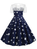 1950s Dress Lace Patchwork Stars Print Dress