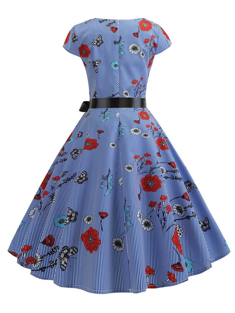 1950s Dress V Neck Back Zipper Midi Dress