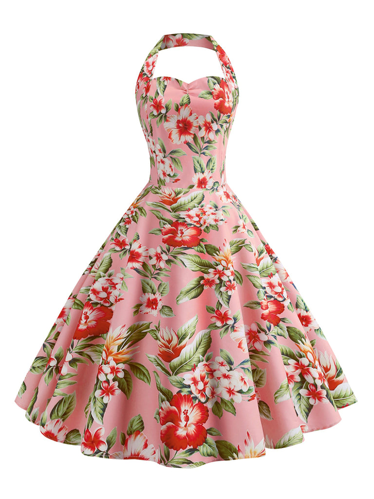1950s Dress Halter Neck Floral A-Line Dress