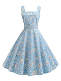 1950s Dress Spaghetti Strap Pastoral Style Dress