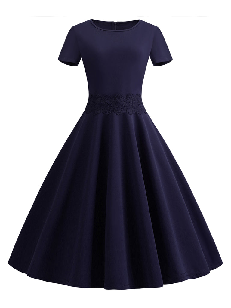 Swing Dress Short Sleeve Solid Color 1950s Dress