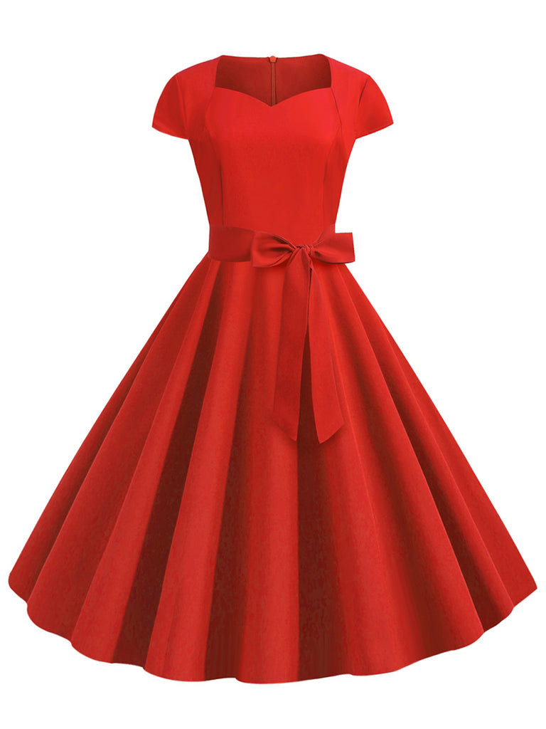 1950s Dress Short Sleeve Solid Color Bow-embossed Waistband Vintage Dress