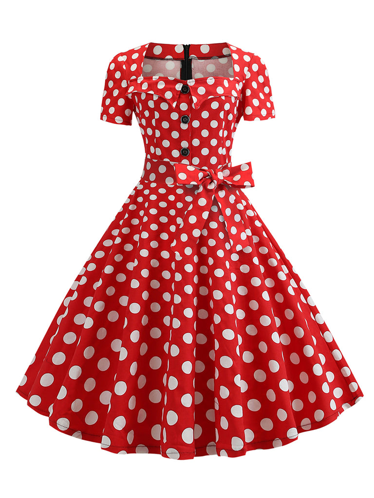 Hepburn Square Collar Short-Sleeved Belt Design Polka Dot 50s Retro Dress