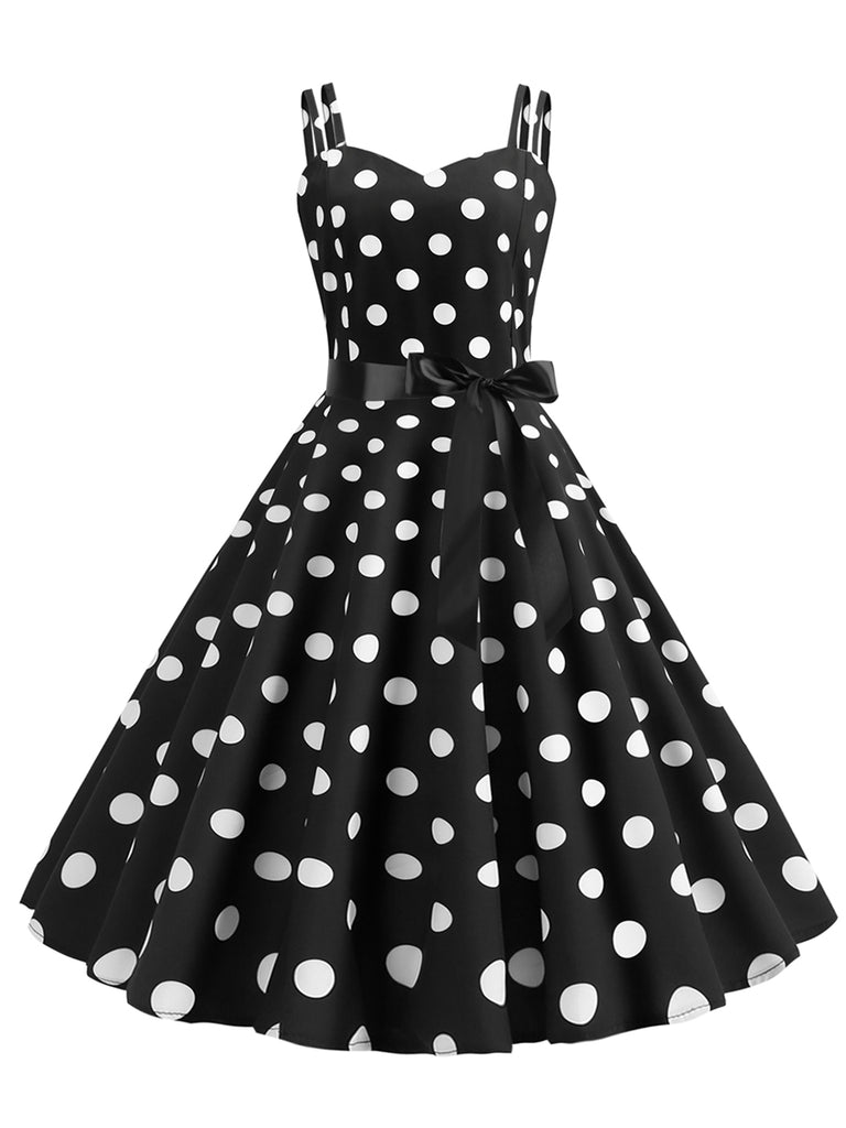1950s Dress Sexy Strap Polka Dot Print A-line Dress