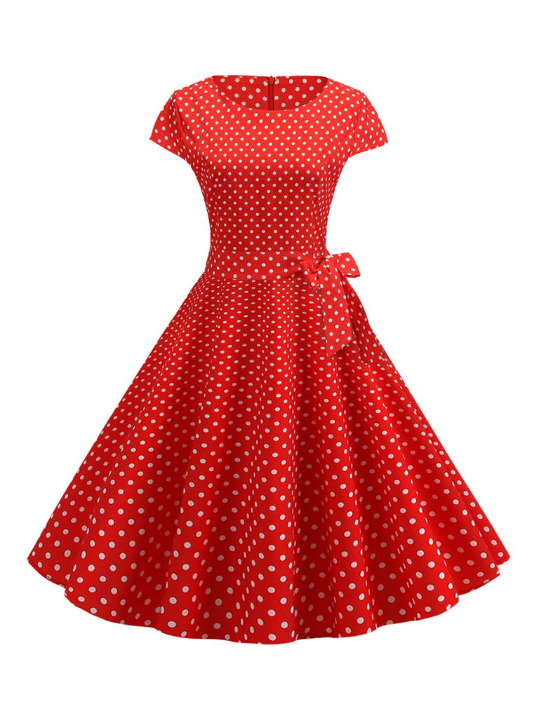 1950s O Neck Sleeves Waist Print Slim Dress