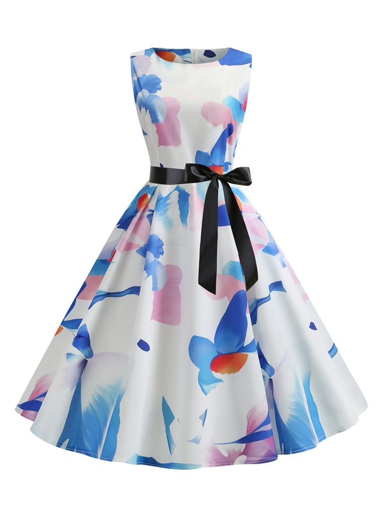 Round Neck Sleeveless Print Ribbon Waist Dress