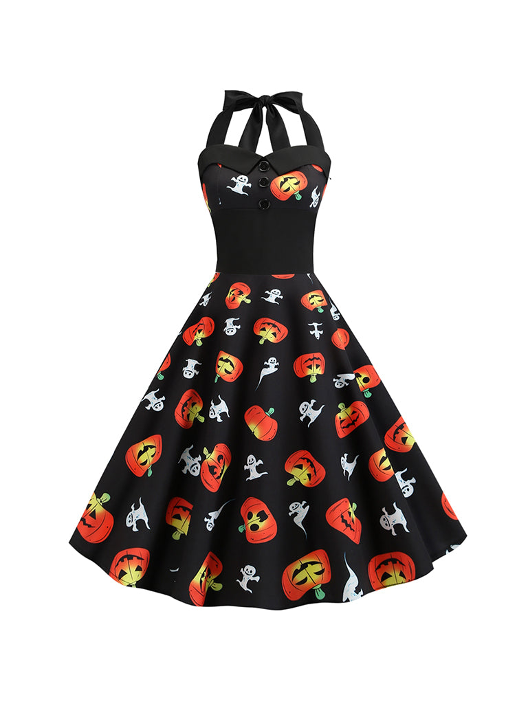 Halloween Costumes Pumpkin Print Halter Swing Dress