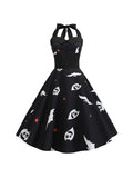 Halloween Costumes Ghost Print Swing Dress