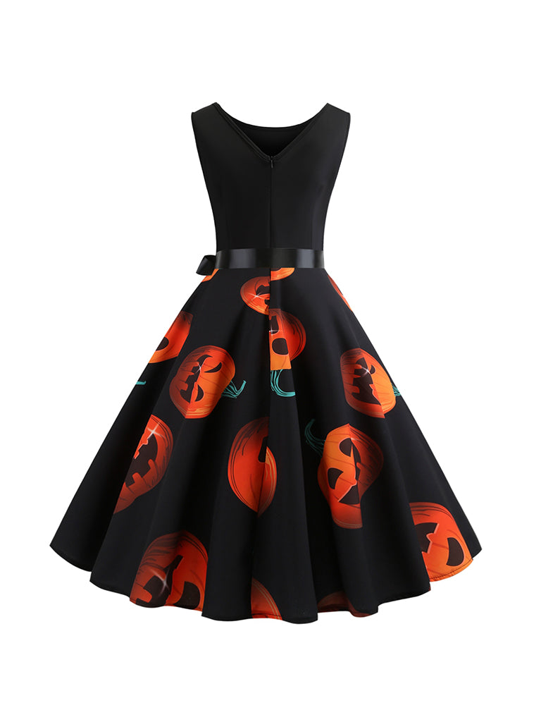 Halloween Costumes Pumpkin Face Pattern Sleeveless Swing Dress