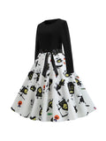 Halloween Autumn And Winter Round Neck Long Sleeves Ghost Print Big Swing Dress