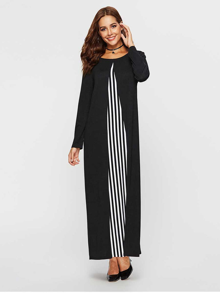 Casual Dress Crew Neck Vertical Stripe Stitching Dress