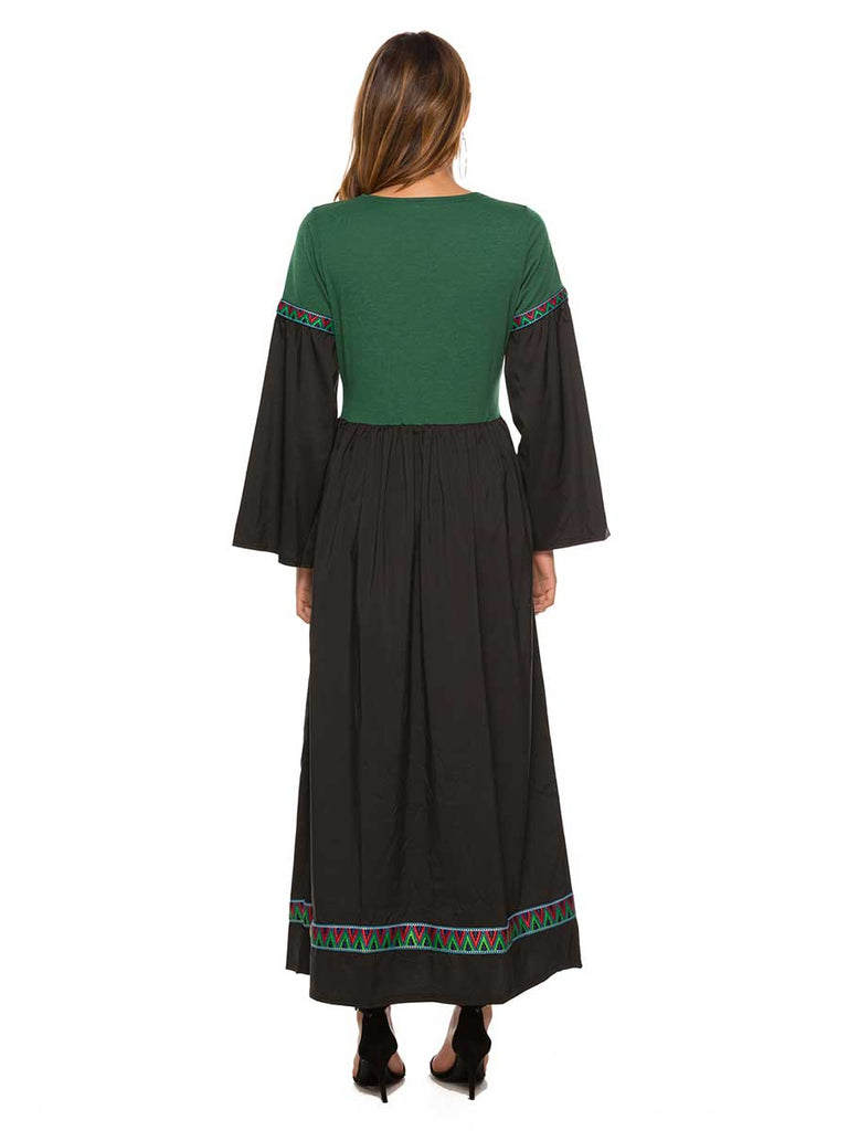 Casual Dress Bohemia Style Trumpet Sleeve Long Dress