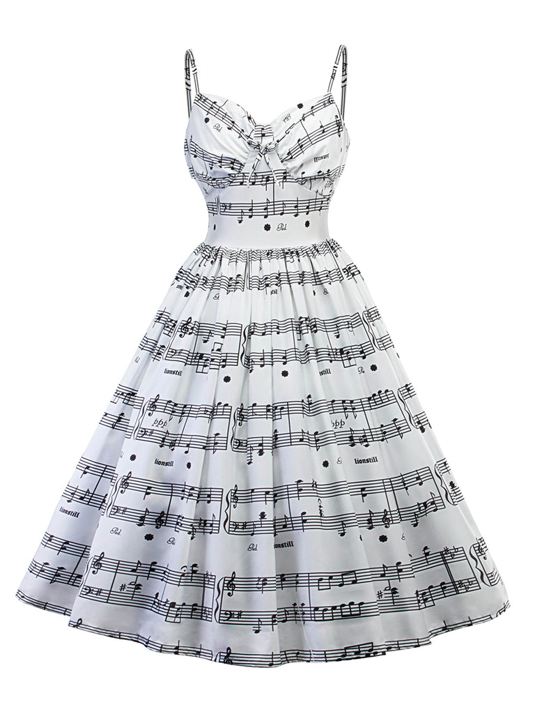 1950s Slip Dress Music Note Midi Dress
