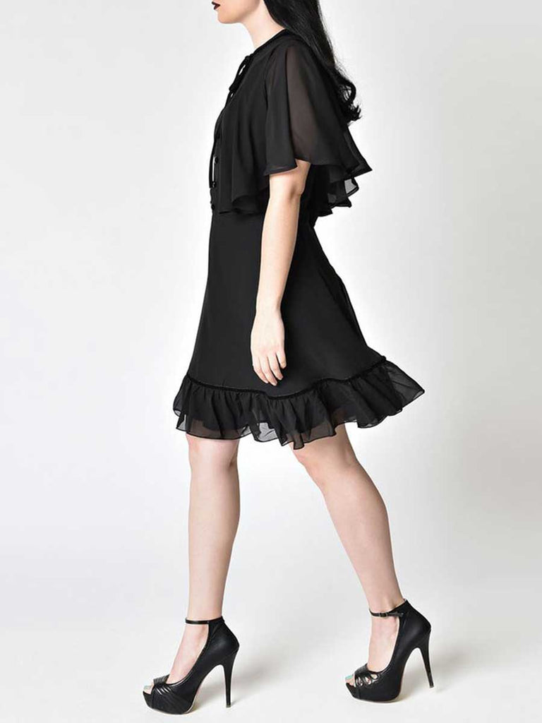 Hepburn Style Dress Vintage Strappy Ruffled Patchwork Dress