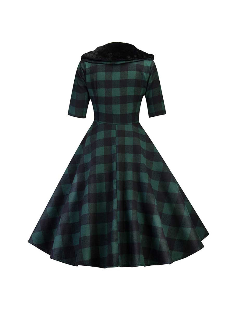 Retro Dress Fur Collar Plaid Long-sleeved Dress