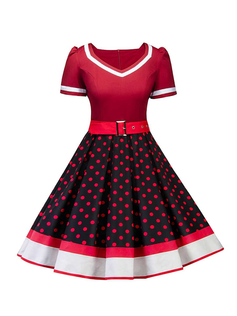 Retro Stitching Square Collar Polka Dot Dress With Belt