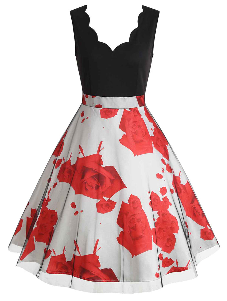 1950s Patchwork Sleeveless Floral Aline Dress