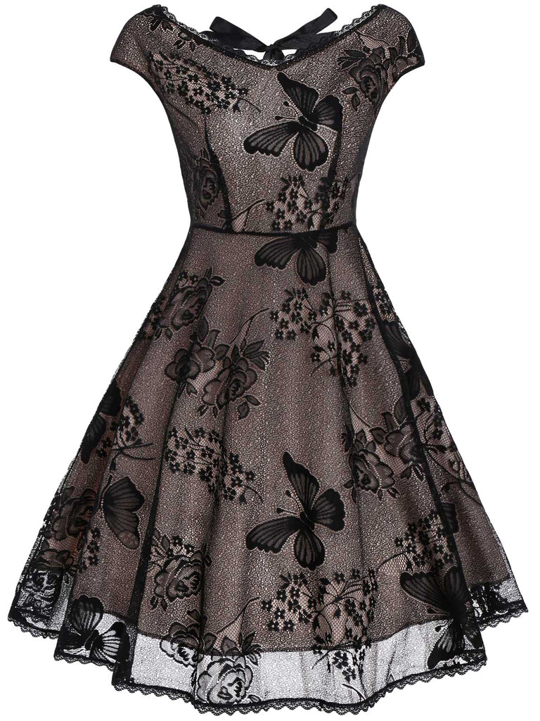 1950s Butterfly Embroidery Retro Style Lace Dress