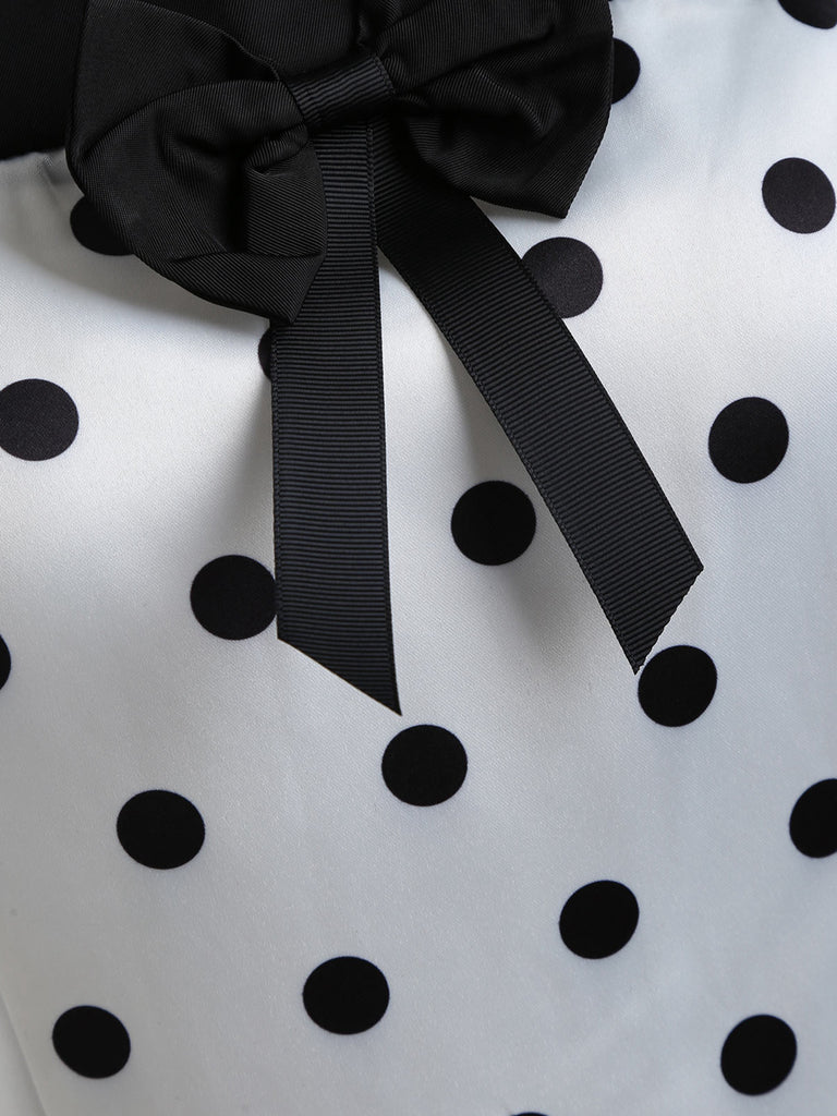 1950s Vintage Polka Dot Bow Decor Dress