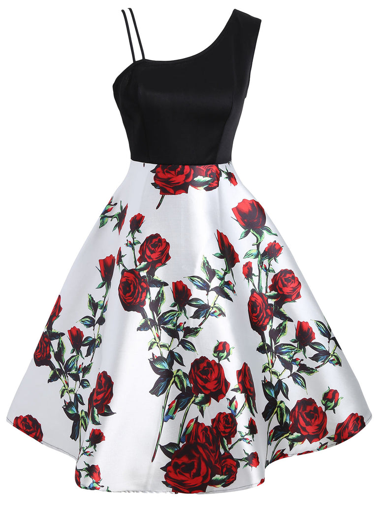 1950s Stylish Asymmetric Sleeveless Floral Dress