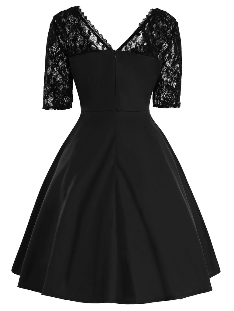 1950s Vintage Style Lace Patchwork Half Sleeve Aline Dress