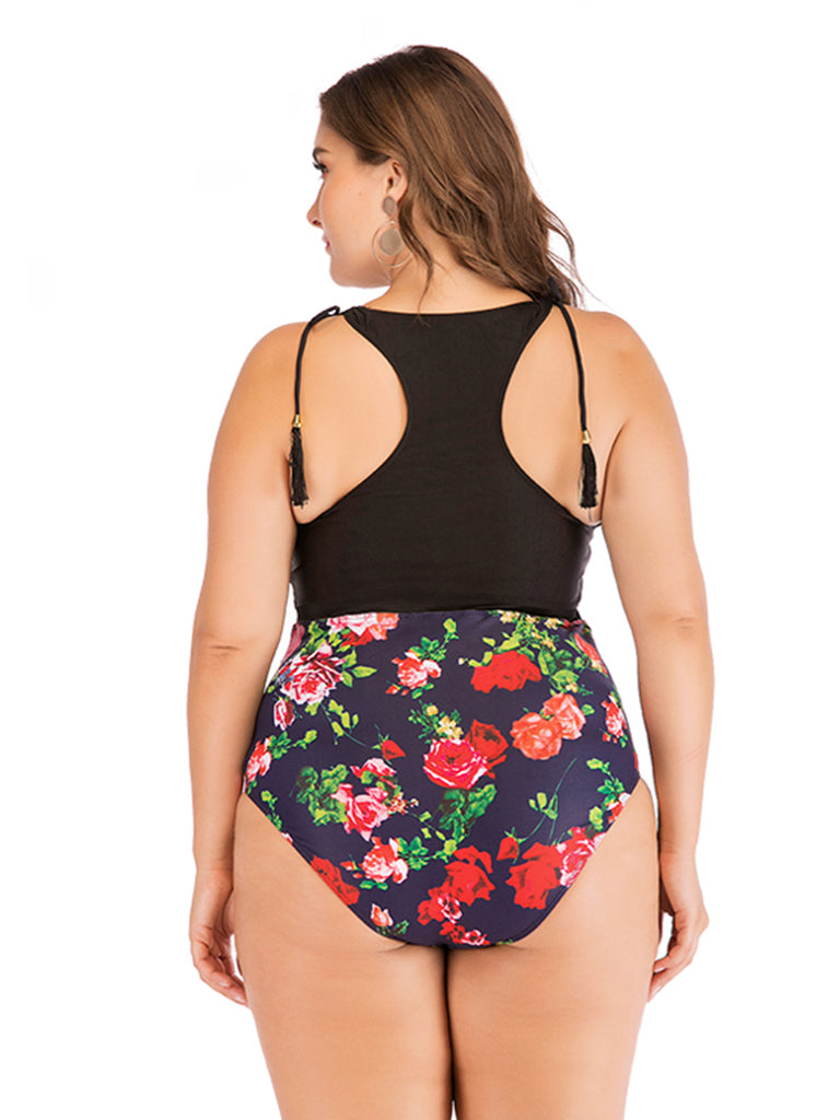 Plus Size One-piece Floral Swimwear Bikini Suit