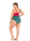 Plus Size One-piece Hollow Out Watermelon Bikini Suit