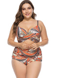 Plus Size Two-piece Hollow Out Floral Bikini Suit