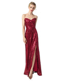 Homecoming Dress Strapless Sequins Split Long Dress