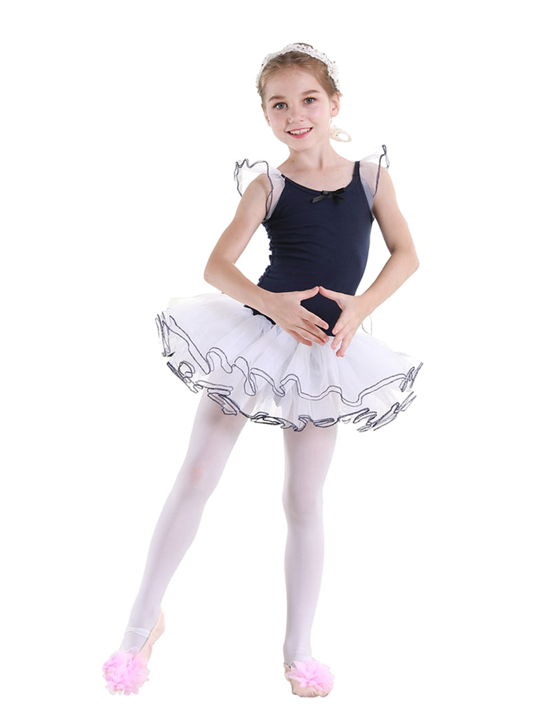 Girls Ballet Tutu Skirt Semi Opaque Flutter Cap Sleeves