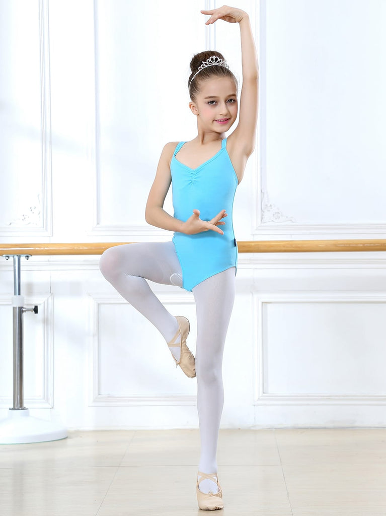 Girls' Camisole Leotard with Cross Straps Back Dance Ballet Gymnastics