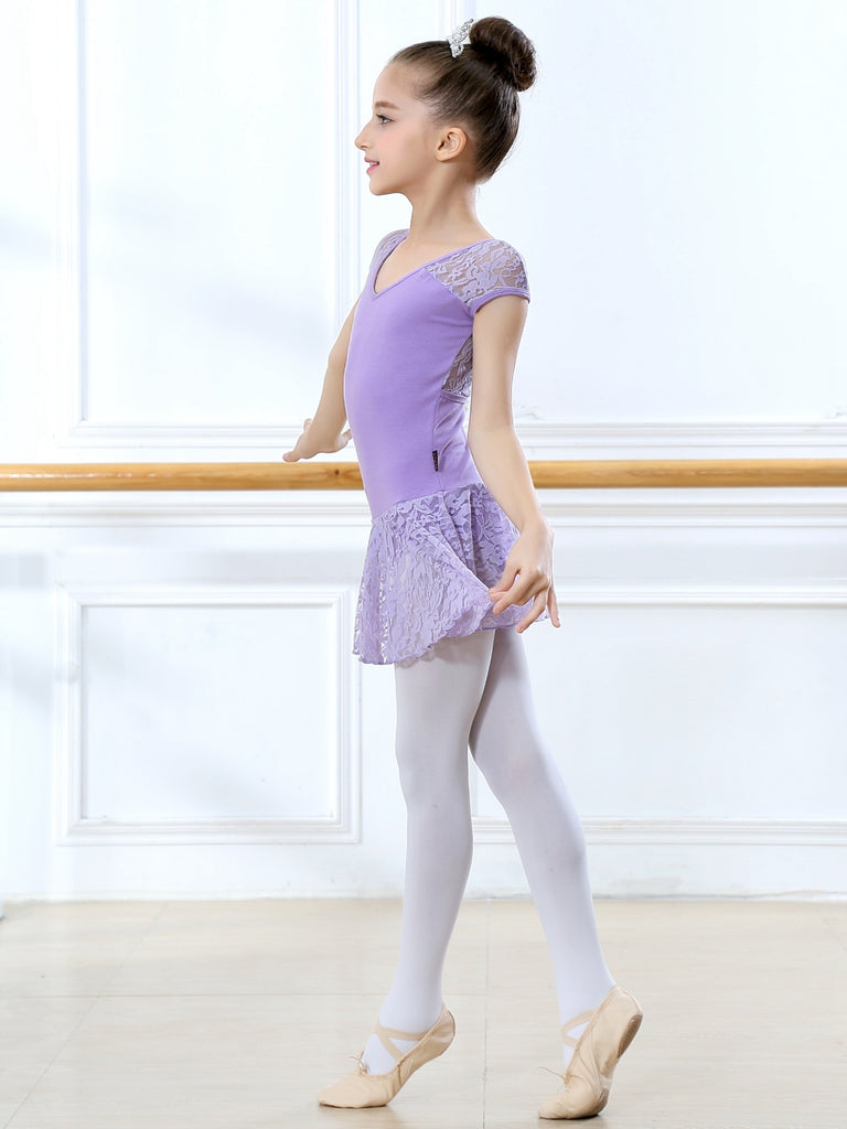 Leotard for Girls Short Sleeve Suit Tights Ballet Practice Wear
