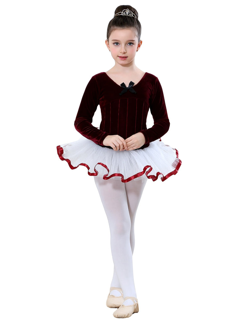 Ballet Costumes with Long Sleeve V-Neck and Bow Design Practice Wear Dancing Clothes