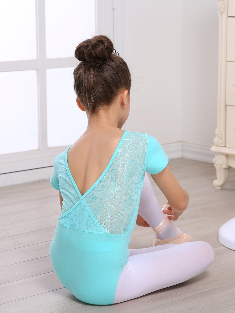 Girls' Camisole Leotard with Lace Design Backless Dance Ballet Gymnastics