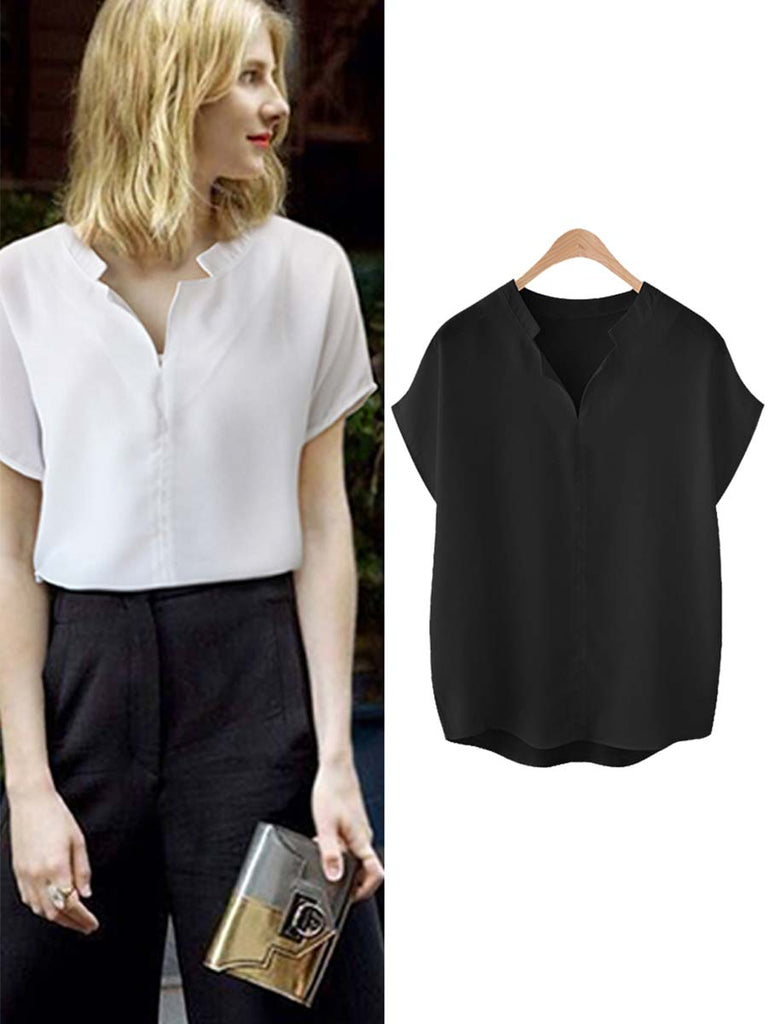 Large Size Professional Short Sleeve Simple Plain Office Ladies Shirt