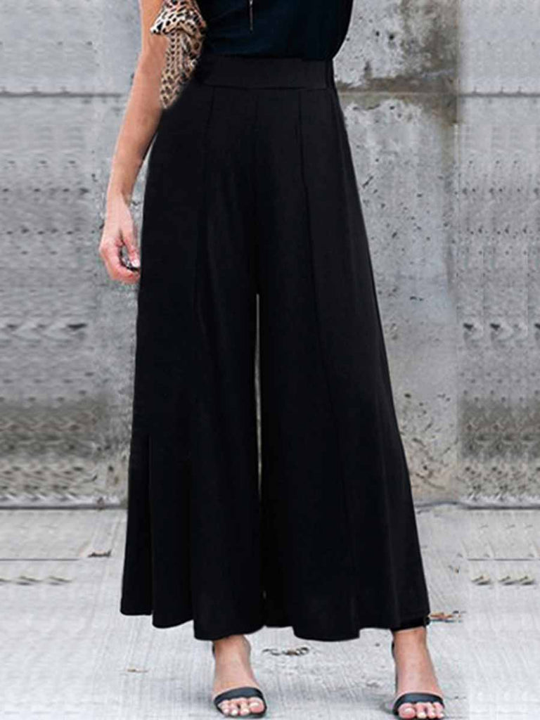 Female Summer High Waist Nine Points Casual Pleated Wide-leg Pants