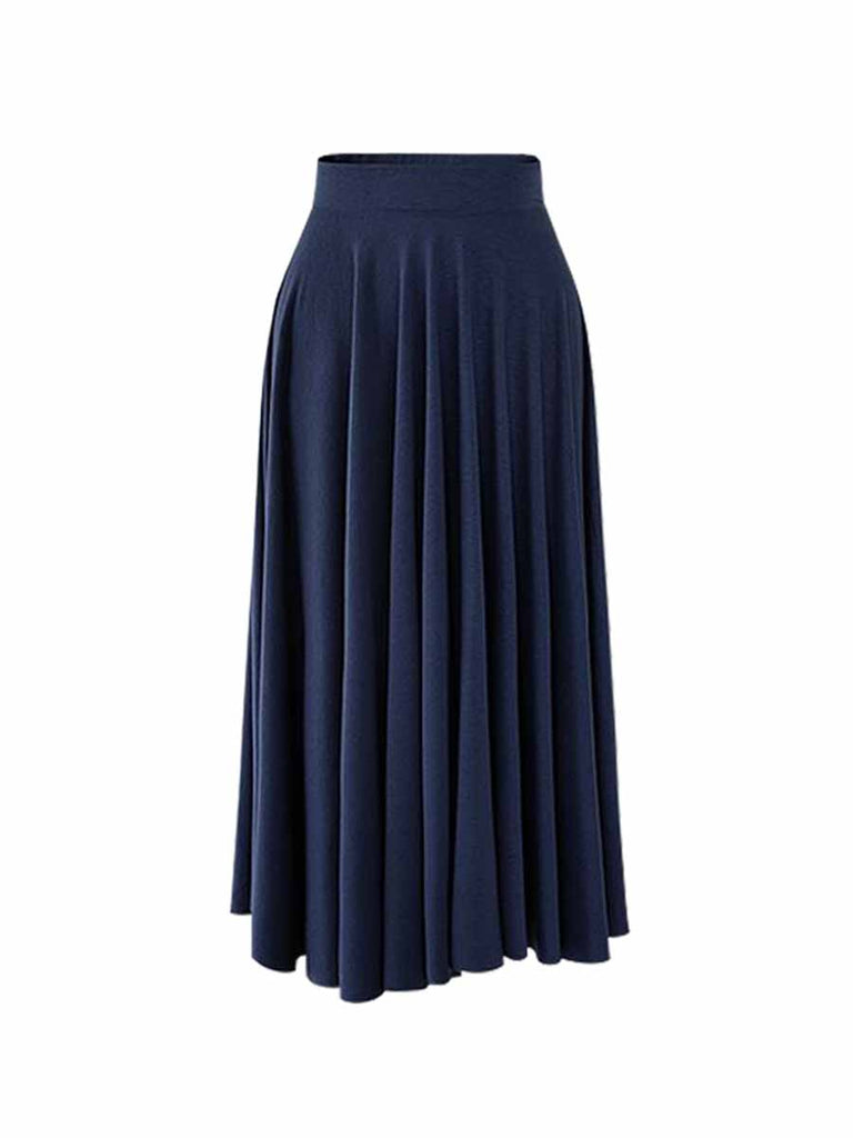 Large Size Bottoms High Waist Mid-length Pleated Umbrella Skirt