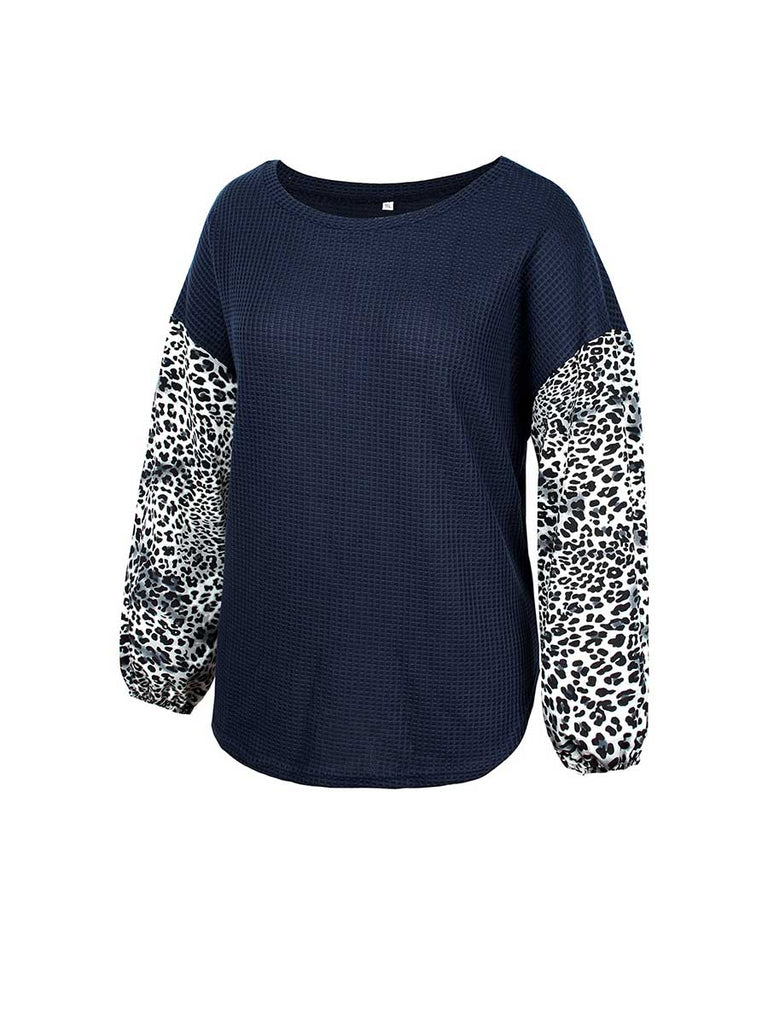 Plus Size Top Round Neck Leopard Long-sleeved Sweater